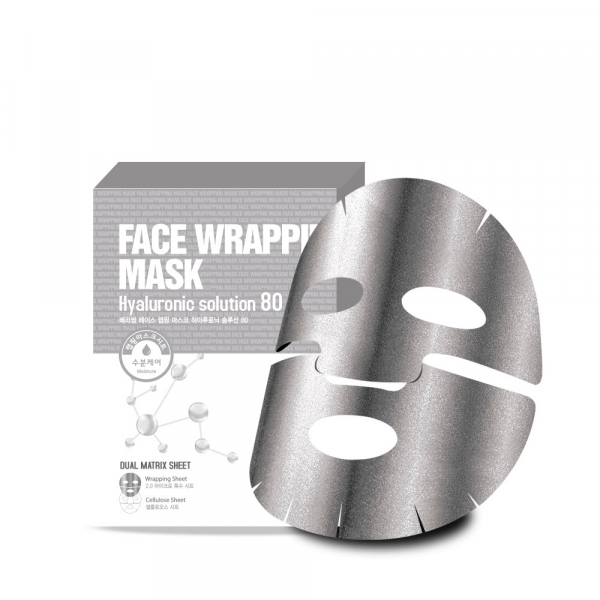 БР Маска для лица с  гиалуроновой кислотой Face Wrapping Mask Hyaruronic Solution 80 27мл