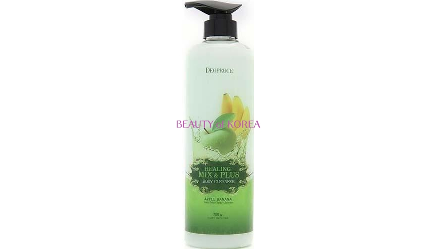 Гель для душа DEOPROCE HEALING MIX & PLUS BODY CLEANSER APPLE BANANA (750гр)Яблоко-банан